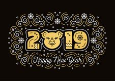 Happy New Year 2019 greeting card, pig symbol. Golden Number 2019, Pig icon, trendy swirls on a dark background. Vector. Elegant Christmas card royalty free illustration