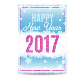 Happy New Year 2017 greeting card pink text and snowflakes. Happy New Year 2017 greeting card. Blue background with bokeh, snow, fog and snowflakes. Pink and Stock Image