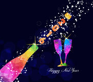 Happy new year 2016 greeting card or poster design with colorful triangle champagne explosion Royalty Free Stock Image