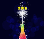 Happy new year 2016 greeting card or poster design with colorful triangle champagne explosion.  Stock Images