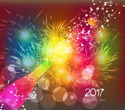 Happy new year 2017 greeting card or poster design with colorful triangle champagne explosion.  Royalty Free Illustration