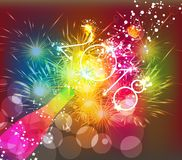 Happy new year 2018 greeting card or poster design with colorful triangle champagne explosion Royalty Free Stock Images