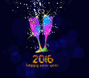 Happy new year 2016 greeting card or poster design with colorful triangle glass Stock Image