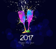 Happy new year 2017 greeting card or poster design with colorful triangle glass Royalty Free Stock Images