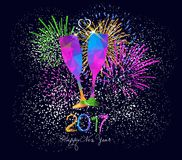 Happy new year 2017 greeting card or poster design with colorful triangle glass.  Royalty Free Illustration