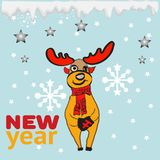 Happy new year greeting card or poster design with cool reindeer and new year vector. Happy new year greeting card or poster design with character reindeer and stock illustration