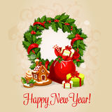 Happy New Year greeting card or poster design Royalty Free Stock Photography