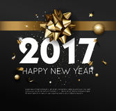 Happy New Year 2017 greeting card or poster template flyer  invitation design. Stock Image