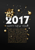 Happy New Year 2017 greeting card or poster template flyer  invitation design. Stock Photo
