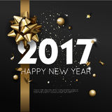 Happy New Year 2017 greeting card or poster template flyer  invitation design. Royalty Free Stock Photo