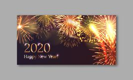 2020 Happy New Year greeting card. With realistic gold fireworks. Brightly shining fireworks flash on dark background. Traditional winter holiday banner vector royalty free illustration