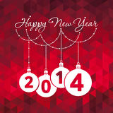 Happy new year greeting card. Happy new year - red greeting card, 2014 Royalty Free Stock Image