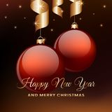 Happy New Year greeting card. Red christmas balls with ribbon hanging. Vector illustration. Royalty Free Stock Image