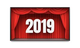 Happy New Year greeting card. Red stage curtains revealing year 2019 number. Graphic design element for premiere announcement, party invitation poster, flyer Stock Image