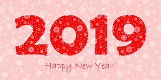 2019 happy new year greeting card. red text on pink background. white snowflakes dots and stars. vector illustration. 2019 happy new year greeting card. red text royalty free illustration