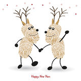 Happy new year greeting card Rein deers with finger prints vector. Background Stock Image
