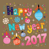 Happy New year 2017 greeting card. Happy New year 2017 retro greeting card vector design Royalty Free Illustration