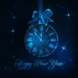 Happy New Year greeting card with roman numeral clock as a christmas ball, ribbon bow and text. Happy New Year greeting card template with roman numeral clock stock illustration