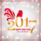 Happy New Year 2017. Greeting card with Rooster. Happy New Year! Greeting card with Rooster - Chinese zodiac 2017. Vector illustration. Elegant banner in red Royalty Free Stock Photography