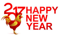 Happy New Year Greeting card for 2017 with Rooster. Red Rooster as symbol of 2017. Happy New Year greeting card template Royalty Free Stock Images