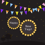 Happy new year greeting card. Happy new year with rural night landscape Stock Photography
