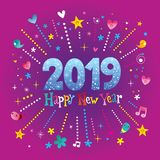 Happy New Year 2019 greeting card. It`s really nice Royalty Free Stock Photos