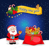 Happy New Year greeting card with Santa Claus royalty free illustration