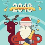 2018 Happy New Year greeting card. Santa Claus with christmas deer. Vector illustration Stock Photography