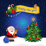 Happy New Year greeting card with Santa Claus. And decorated christmas tree vector illustration. Santa with sack full of gifts. Christmas tree with light vector illustration