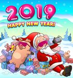 Happy new year greeting card with santa claus and pig in cool glasses. Happy new year greeting card with santa claus and pig in cool pink eyeglasses lying on a stock illustration