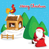 Happy new year greeting card with Santa Claus. And rooster on chicken coop vector illustration. Santa full red sack. Light decoration, garland. Winter vector illustration
