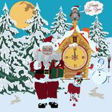 Happy New Year greeting card, vector illustration. Happy New Year greeting card with Santa Claus, snowman, rabbits, owl sitting on fairy house with clock stock illustration