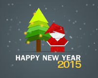 Happy New Year Greeting Card. Santa and Pine Tree Stock Photo