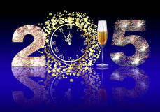 Happy New Year 2015. Greeting New year card in 2015. Setting New Year 2015 fireworks of 2, table clock, a glass of champagne and the number 5 Create a fireworks Royalty Free Stock Photo