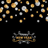 Happy New Year Greeting Card with Shining Dots Stock Image