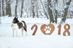 Happy new year 2018 greeting card stock image