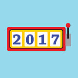 Happy New Year 2017 greeting card with slot machine and lucky 20. 17 figures Stock Photo