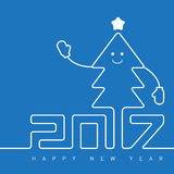 Happy New Year greeting card with smiling Christmas tree, vector Royalty Free Stock Photography