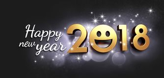 Happy New Year 2018 Greeting card for smiling. Joyful New year date 2018, smiling face and Greetings, on a glittering black background - 3D illustration Stock Image