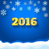 Happy New Year 2016 greeting card. Snowflake. Happy New Year 2016 greeting card.  Snowflake background Stock Photos