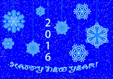 Happy New Year greeting card in 2016 from snowflakes. 2016 New Year. Happy holidays from the premise of snowflakes. Schematic diagram of the greetings of the Royalty Free Stock Images