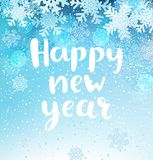 Happy new year Greeting Card with snowflakes. Happy new year greeting card with lettering and snowflakes background. Vector illustration Stock Photos
