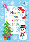 Happy New Year 2019 greeting card with snowman, Christmas tree and gifts. vector illustration stock illustration