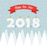 Happy New Year greeting card with snowy winter trees. And snowflakes Stock Photography