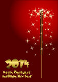 2014 Happy New Year greeting card. With sparkler background Royalty Free Stock Photo