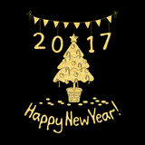Happy New Year greeting card with spruce. Cartoon style. Hand draw vector illustration. Glitter gold on black Stock Images