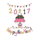 Happy New Year greeting card with spruce. Cartoon style. Hand draw vector illustration. Trendy colors. Glitter gold, pink gray Royalty Free Stock Images