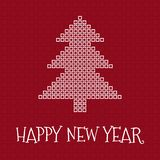 Happy New Year greeting card, square mosaic. Christmas tree on red background Stock Illustration