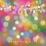 Happy new year greeting card with string of glittering lights, 2017 and flags. Party decoration. Modern blurred background, vector illustration vector illustration