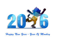 Happy New Year 2016 greeting card stylized triangle polygonal model Stock Photos